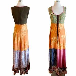 CESAR ARELLANES Multicolor Patch Dress Large EUC